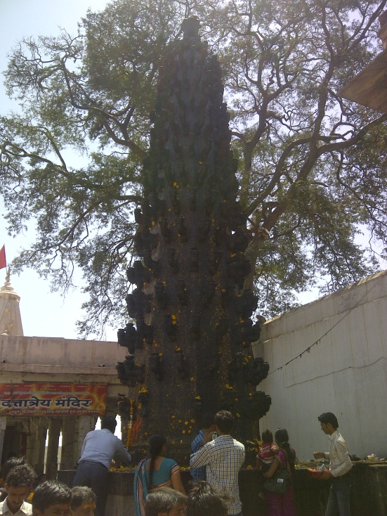 Lamp pillar at a temple in Ujjain